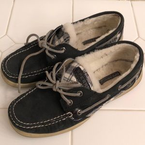 Sperry Top-Sider with fleece inside, check sequins